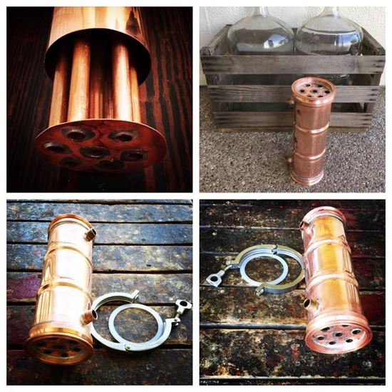 """Picture of 4""""x12"""" 7-pipe Dephlegmator with water in/out with copper collars"""