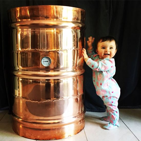 "60 Gallon (227 Liter) Copper Barrel Moonshine still with 4"" copper ez-flange ferrule, temperature gauge, and drain"