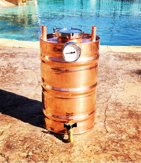 "3.3 Gallon Copper moonshine thumper with 3"" access, triclamp, temp gauge, and drain"