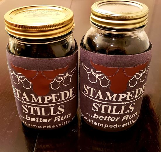 Stampede Stills Quart Moonshine Jar Coozie