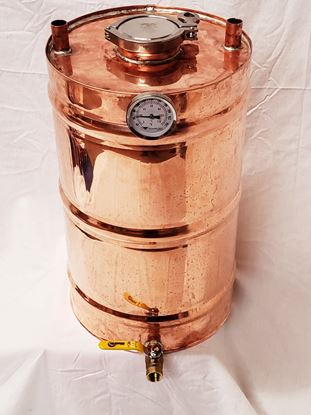 "8 Gallon Copper Moonshine Thumper with 3"" access and triclamp, temperature gauge, and 1/2"" ball valve drain"