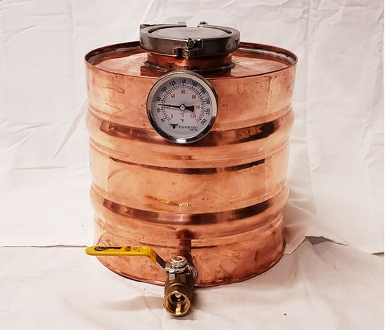"Lyne Master 2 Gallon Copper Moonshine Thumper with 3"" access and triclamp, temperature gauge, and 1/2""ball valve drain. doubler, gin basket,"