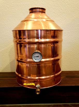 "10 Gallon (38 Liter) Copper Moonshine still with 4"" copper ez-flange ferrule, temperature gauge, and drain"