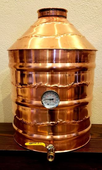 "Barbed Wire 10 Gallon (38 Liter) Copper Moonshine still with 4"" copper ez-flange ferrule, temperature gauge, and drain"
