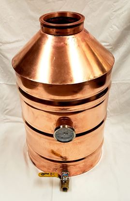 "6 Gallon Copper Moonshine still with 4"" copper ez-flange ferrule, temperature gauge, and drain"