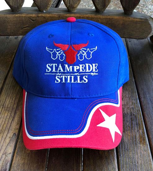 Proudly wear this custom Blue, Red, White Star Stampede Stills cap.