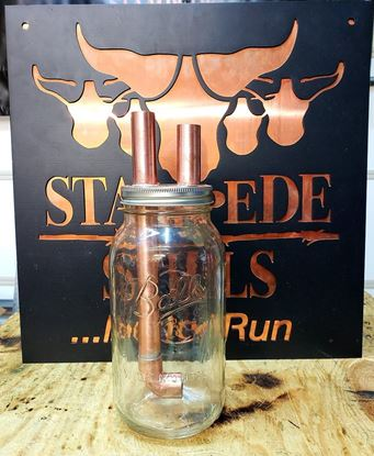 "Stampede Stills Copper 1/2 Gallon Widemouth Mason Jar Thumper Kit 3/4"" piping"