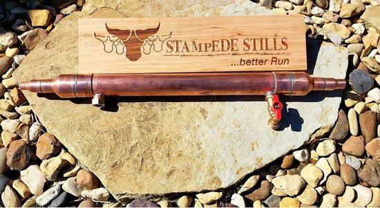 """Stampede Stills 20"""" x 2"""" Copper Quad barrel minigun Liebig Condenser with 1/2"""" barrels (1"""" IN to 1/2"""" out)"""