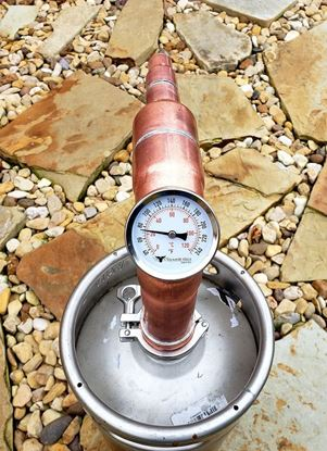 "Stampede Stills 2"" x 8"" copper still head with locking collar and Temperature gauge for 2"" Sanke Keg"