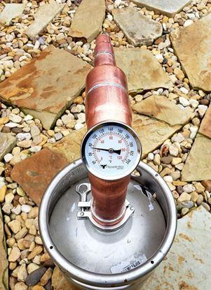 "Stampede Stills 2"" x 8"" copper still head with locking collar and Temperature gauge for 2"" Sanke Keg"