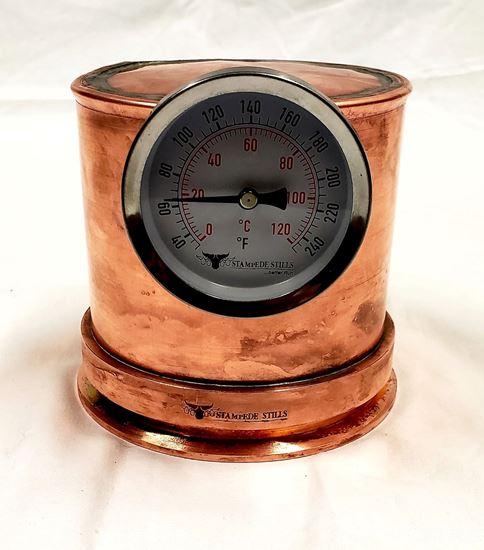 """Stampede Stills 4"""" x 4"""" copper still head with locking collar and Temperature gauge"""