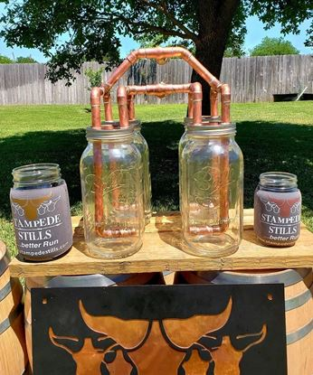 "Stampede Stills Copper 2 Gallon Thumper Herd (FOUR Mason Jar Thumper Kit with DIFFUSERS (Half Gallon)(1/2"" piping)"