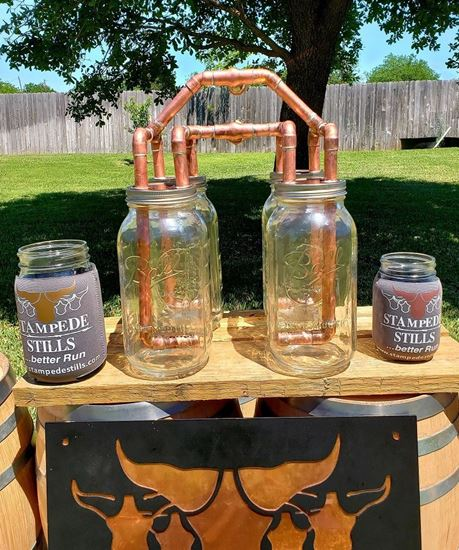 """Stampede Stills Copper 2 Gallon Thumper Herd (FOUR Mason Jar Thumper Kit with DIFFUSERS (Half Gallon)(1/2"""" piping)"""
