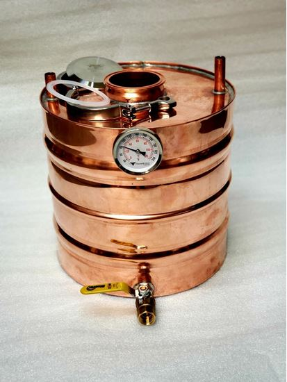 "4.3 Gallon Copper Moonshine Thumper with 3"" access and triclamp, temperature gauge, and 1/2"" ball valve drain."