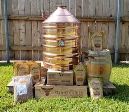 """30 Gallon (114L) Copper Distillation Still Pot with 4"""" Copper Collar and 2"""" cone fill port"""
