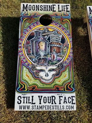 Stampede Stills Moonshine Life ™ STILL YOUR FACE Cornhole boards