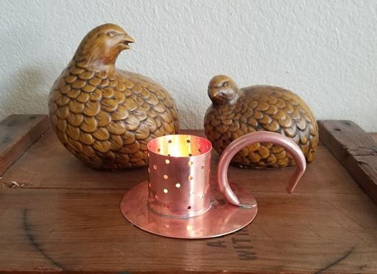 """Stampede Stills 2"""" Copper Tea candle light diffuser with copper base and handle"""