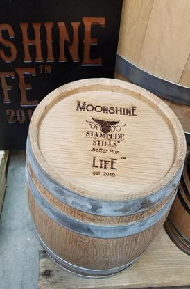 Moonshine Life logo New, Unused 4 Liter (1.05 gallon) American Oak Whiskey Bourbon Aging Barrel with medium char (4L)
