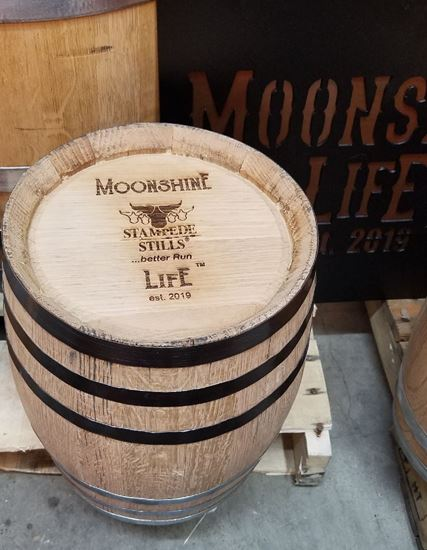 MOONSHINE LIFE™ logo New, Unused 2.6 Gallon (10 Liter) Distillery Oak Bourbon Aging Barrel with medium char