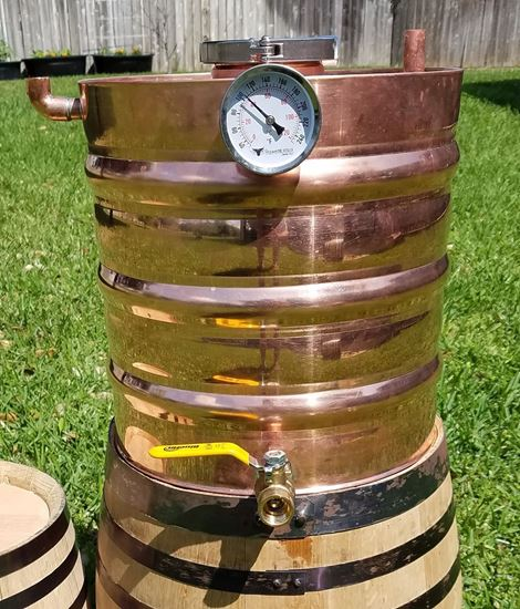 "2 Gallon Copper moonshine thumper with 3"" access, triclamp, temp gauge, and drain"