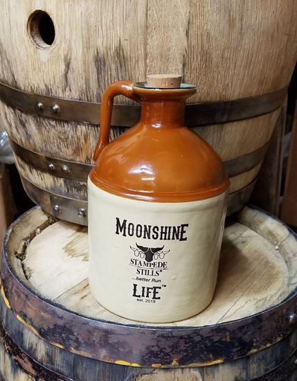 Stampede Stills MOONSHINE LIFE™ 750ml Glass Moonshine Jug with handle and Cork