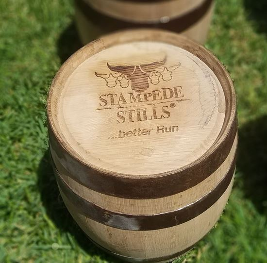 "STAMPEDE STILLS LOGO ""Rugged"" New, Unused 5 Gallon (20 Liter) Distillery Bourbon Oak Aging Barrel with medium char"