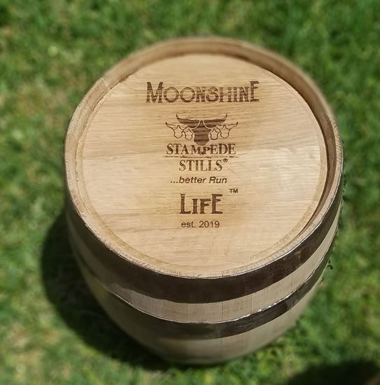 "MOONSHINE LIFE Logo, ""Rugged"" New, Unused 5 Gallon (20 Liter) Distillery Bourbon Oak Aging Barrel with medium char"