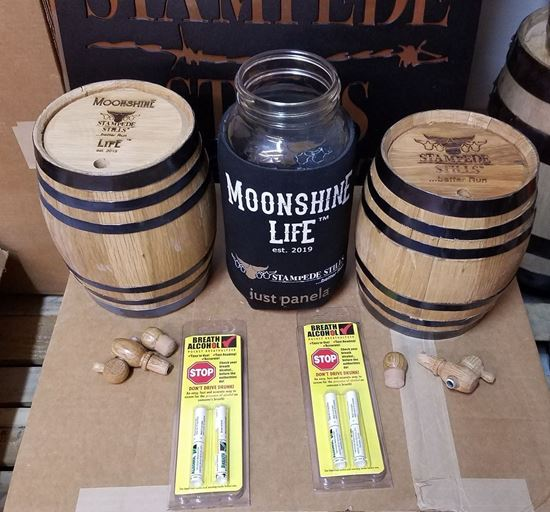 Independence Day Special Stampede Stills and Moonshine Life™ Bourbon Mini Barrel Bundle - Pair of 2 Liter barrels + more