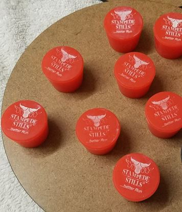 STAMPEDE STILLS LOGO 3 Pack of Red Platinum Cured Silicone Rubber Tapered #6 Barrel Bung Plugs