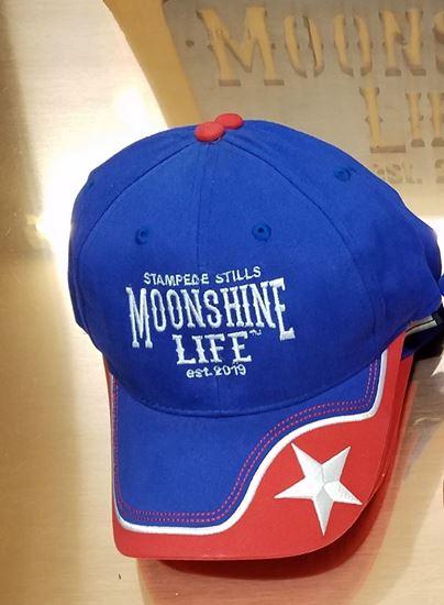 Stampede Stills MOONSHINE LIFE ™ Custom Blue, Red, White Star hat cap