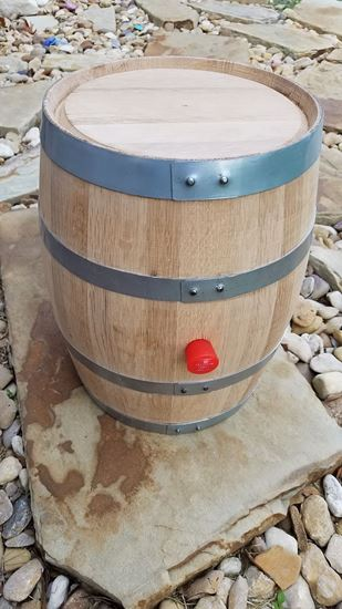 New, Unused 5 Gallon Liter Oak Bourbon Aging Barrel with medium char, thick galvanized hoops, and super tight build
