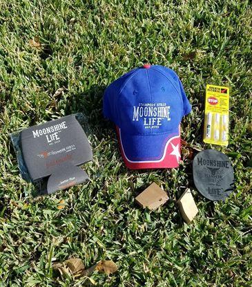 BLACK FRIDAY Stampede Stills MOONSHINE LIFE ™ Hat, Motorcycle kickstand ground pad, coozie bundle