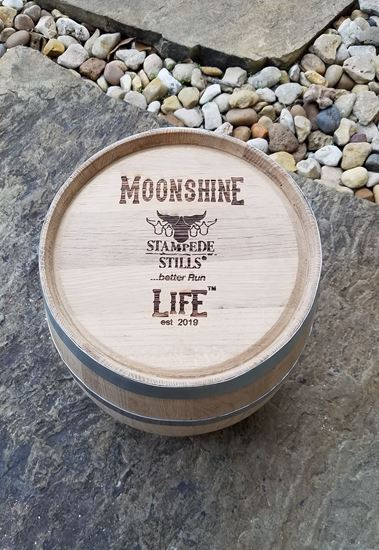 MOONSHINE LIFE™ Stampede Stills Logo - New, Unused 5 Gallon (20 Liter) Distillery Bourbon Oak Aging Barrel with medium char