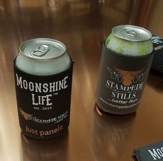 Stampede Stills Moonshine Life ™ 12oz Insulated, Reversible (Gray/Black) Soda Beer Can Coozie
