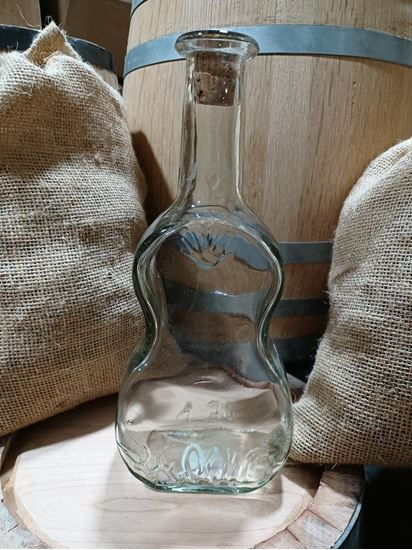 Hand blown Guitar glass bottle with cork topper 800ml (~27oz)
