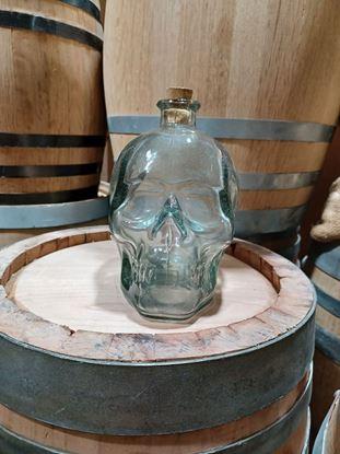Hand blown glass Skull bottle with cork topper 800ml (~27 oz)