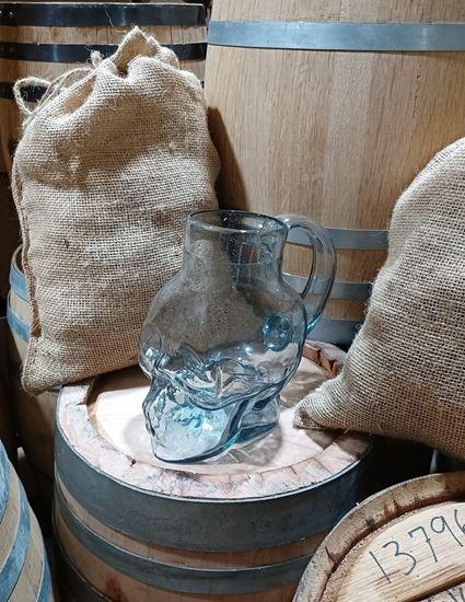 Hand blown glass Skull Mug with handle 1000ml (~33.8oz)