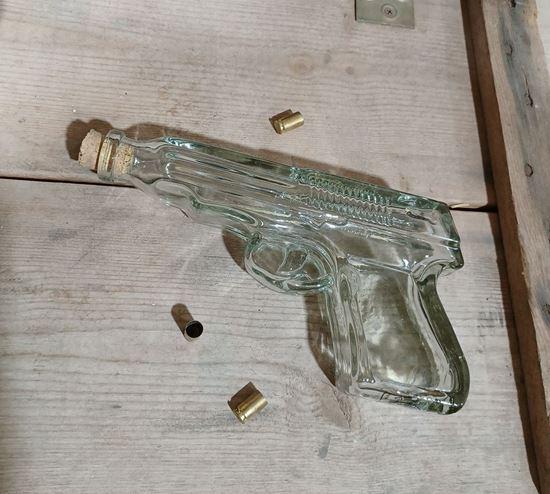 Hand blown glass Glock 9mm handgun bottle 200ml (~6.7 oz)